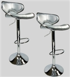 2 Swivel Silver Modern  Leather Modern Adjustable Hydraulic Bar Stools