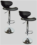 2 Swivel Black Elegant Leather Modern Adjustable Hydraulic Bar Stools