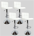 4 Swivel White Elegant Modern Leather Adjustable Hydraulic Bar Stools