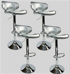 4 Swivel Silver Retro Leather Modern Adjustable Hydraulic Bar Stool Bar stool