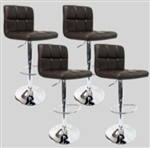 4 Swivel Brown Elegant Modern Leather Adjustable Hydraulic Bar Stools Coffee