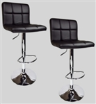 2 Black Swivel Elegant PU Leather Modern Adjustable Hydraulic Bar Stools