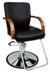 Black Leather Hydraulic Barber Chair With Wooden Arm Rests