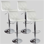 4 Swivel Bar Stool White Elegant Leather Adjustable Hydraulic Bar stools