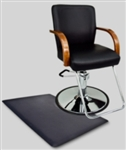 Black Leather Hydraulic Barber Chair With Wooden Arm Rests and Anti Fatigue Comfort Floor Mat