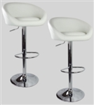 2 Swivel Seat White Leather Modern Adjustable Hydraulic Bar Stools