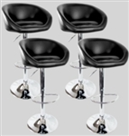 4 Swivel Seat Black PU Leather Modern Adjustable Hydraulic Bar Stools