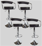 4 Black Swivel Seat Pub Bar Salon Stools Leather