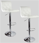 2 White Swivel Leather Modern Adjustable Hydraulic Bar stools