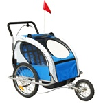 Blue 2IN1 Double Baby Bike Trailer and Stroller