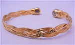 Copper Magnetic Bangle Thin Thai Gold Plating - Single