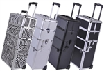 "2in1 Pro Aluminum Rolling Makeup Cosmetic Train Case 38"" Lockable Wheeled Box"