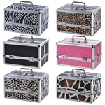 Pro Jewelry Cosmetic Makeup Train Case Bag Lockable Artist Aluminum Box w/ Strap