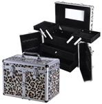 Professional Aluminum Leopard Jewelry Comestic Makeup Case w/Drawer