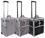 "Brand New 19"" Makeup Rolling Artist Cosmetic Train Case Aluminum Beauty 3 Color Lock Box"