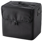 Portable Black Soft Makeup Train Cosmetic Bag w/ Strap