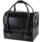Soft Black PVC Crocodile Print Cosmetic Jewelry Bag