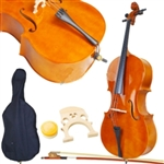 4/4 Full Size Natural Color wood Cello with Case, Bow, and Rosin