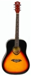 Full Size Acoustic Guitar ABS Hemming Sunset Red