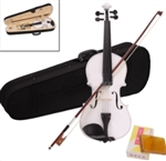Full Size White 4/4 Acoustic Violin with Case and Bow