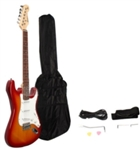 Rosewood Electric Guitar Sunset Red with Gig bag Strap and Cord