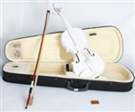 White Acoustic Violin 4/4 Full Size with Case Bow and Rosin