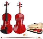 Red 4/4 Kapok Spruce Acoustic Violin with Case Bow and Rosin