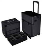 High Quality Black Train Beauty Cosmetic Makeup Case On Wheels