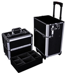 High Quality Silver Train Beauty Cosmetic Makeup Case On Wheels