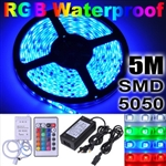 5M 5050 Flexible SMD 300 LED Waterproof RGB Strip Light+Remote Control+Power Car