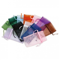 Drawstring Organza Pouch - Assorted Colours Pkg  12