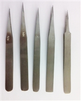 Tweezer Set of 5 Pieces (AA, NN, $3, #5) Steel Stainless