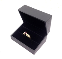 Black Stippled Leatherette Double Ring Box with Velvet Inside