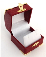 Earring Box Red with Gold Corners/Clasp