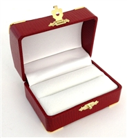 Double Ring Box Red with Gold Corners/Clasp
