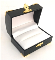 Double Ring Box Green with Gold Corners/Clasp