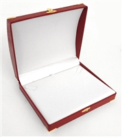 Pearl or Necklace Box Red with Gold Corners/Clasp