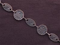 Handmade Chain Antique Copper Colored Dotted Circles And Fancy Ovals