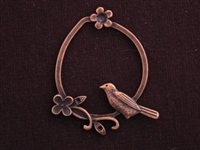 Pendant Antique Copper Colored Bird With Flowers
