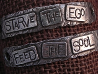 American Pewter Double Leather Cuff Plates STARVE THE EGO FEED THE SOUL