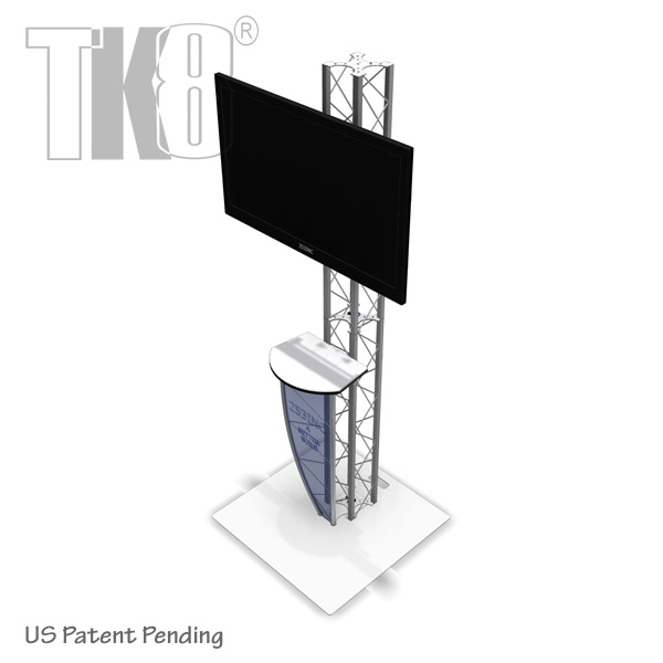 8 FT TK8 ALUMINUM TRUSS MONITOR STAND KIOSK WITH COUNTER TABLE TOP U0026  DESIGNER BASE PLATE