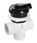 "Waterway 1"" Top Access Diverter Valve, Notched, Black"