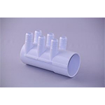"Water Manifold, 2"" S x D/E (6) 3/4"" Barb Ports"