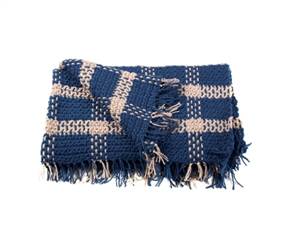 Soft Navy and Beige Blanket