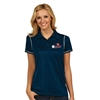 Womens Icon Polo with USAPA logo embroidered. Sizes S-2XL. Navy/White