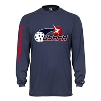 Volley Longsleeve for Men with full front USAPA logo. Sizes S-3XL. Navy