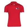 Performance Polo with printed USAPA logo for Women. Sizes S-2XL. Black, Red