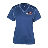 Womens USAPA logo printed Pro Heather Shirt. Sizes S-2XL. Royal, Red