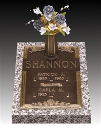 Rose Double Interment Memorial Bronze Grave Marker