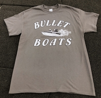 Bullet Graphic Logo T-Shirt Charcoal Gray with Black & White Logo